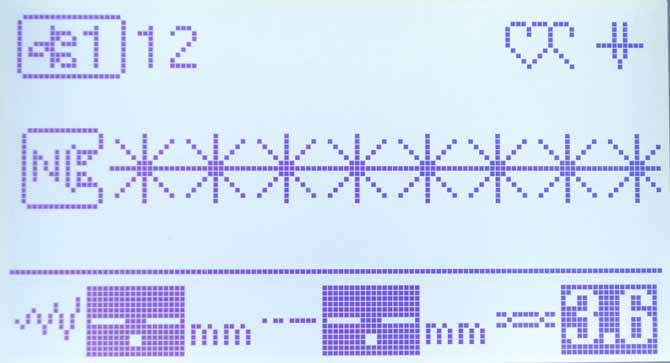 The LCD display on the Brother NQ900 showing the stitch selection used for decorative stitches on the binding of the baby quilt.