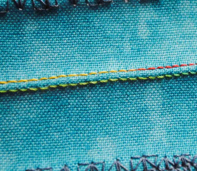 The straight stitch with a twin needle on the NQ900 sewing machine.