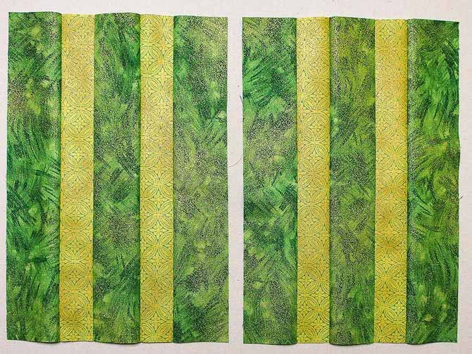 Two green striped blocks