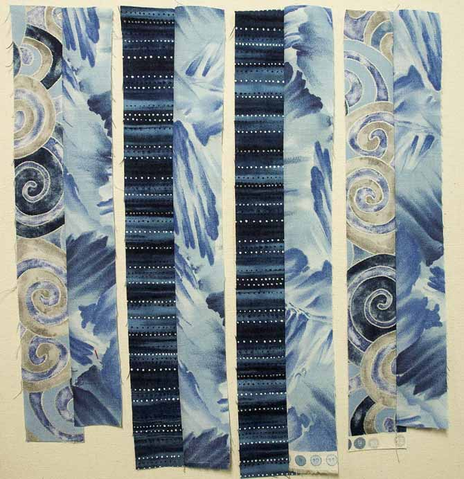 Fabric strips sewn into pairs