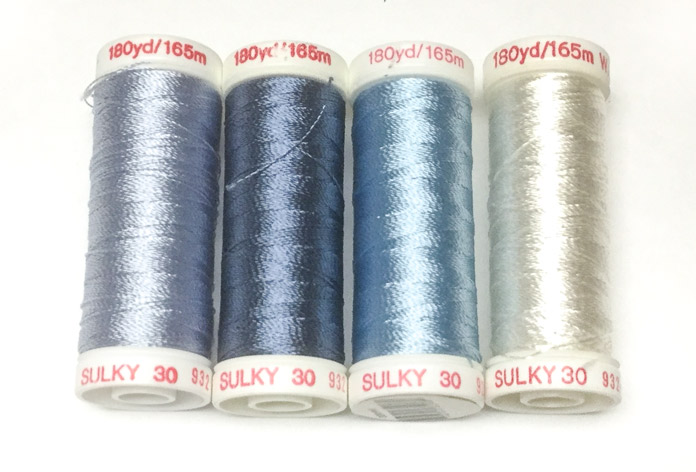 Sulky 30 weight rayon will help add visual depth when used for thread painting; a tutorial on thread painting