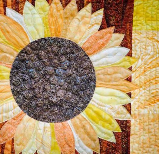 Close up of sunflower quilting design