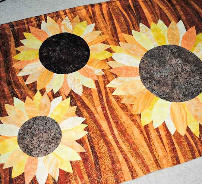 Sunflowers on brown Artisan Spirit Shimmer background