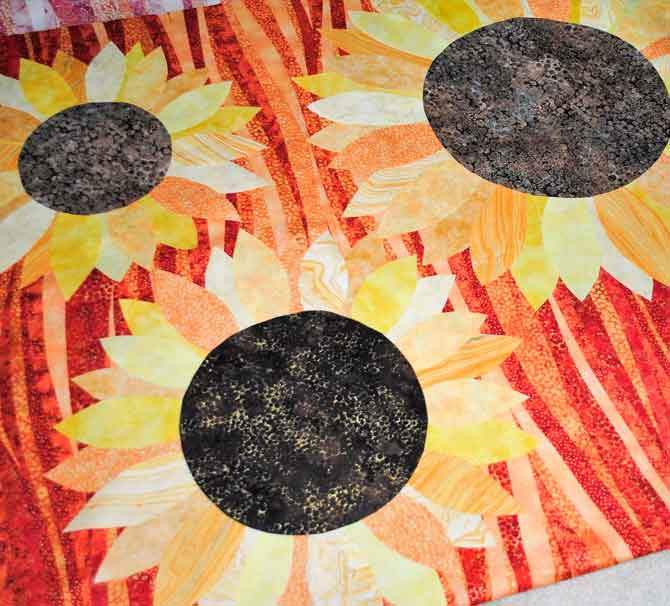 Sunflowers on red Artisan Spirit Shimmer background