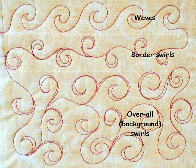 Swirls and waves free motion quilting design