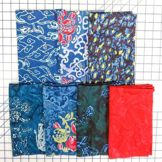 These are the Banyan Batiks fat quarters used for my version of the table runner.