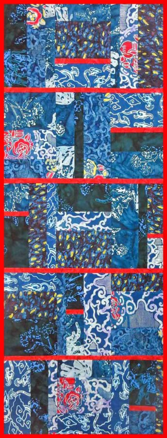 Table runner with Banyan Batiks African Violets and Shadows fabric