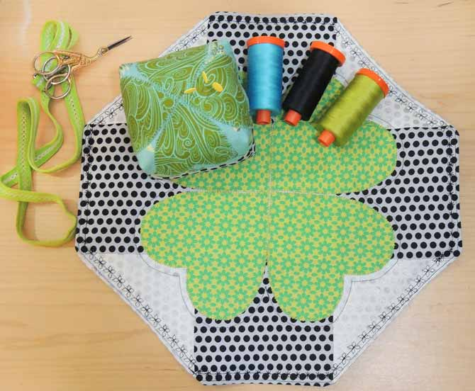 The lucky table topper and pincushion made with the PFAFF passport 3.0.