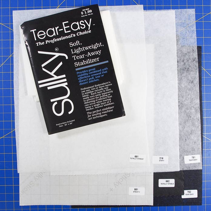 Tear-away stabilizers are black or white and come in a blue package
