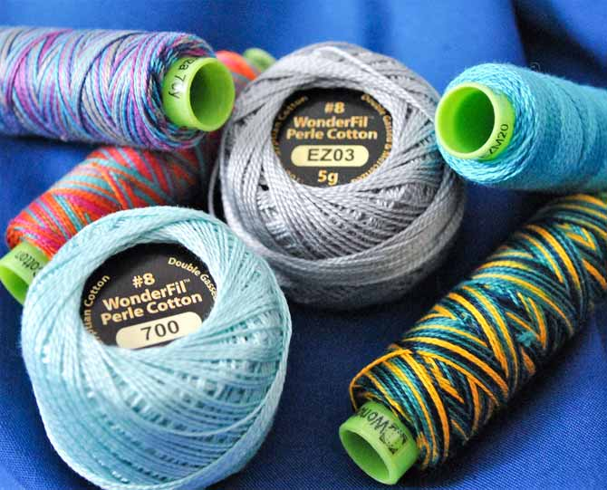 Six spools of assorted Eleganza thread from WonderFil
