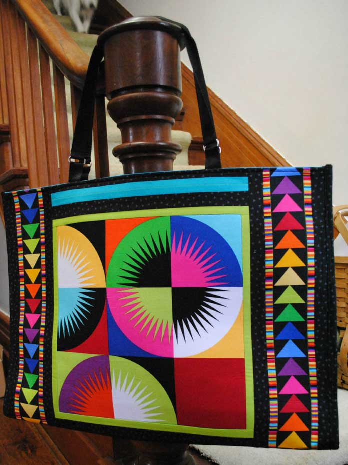 The retreat bag made with Northcott's ColorWorks Concepts fabric can carry all the tools needed at the retreat.