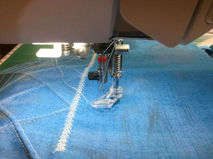 The machine is ready to stitch with a Schmetz twin needle and darning foot.