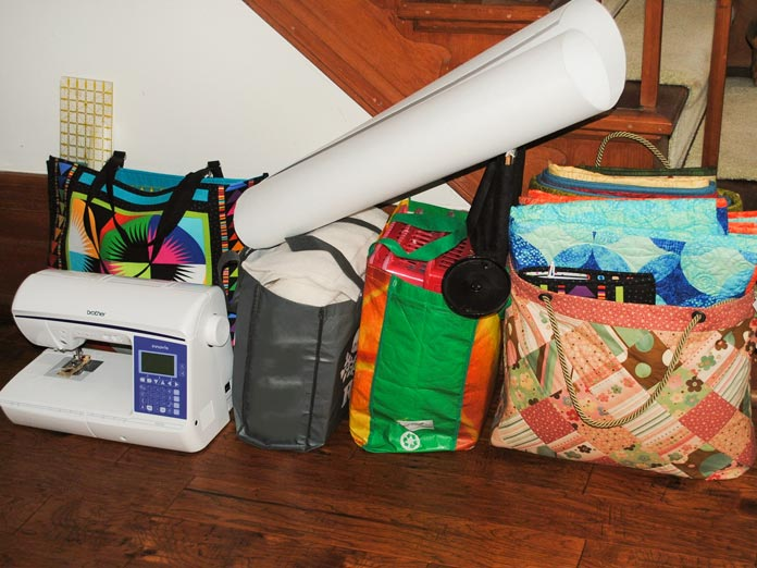 All of the supplies and tools needed at the retreat are gathered together in one spot.