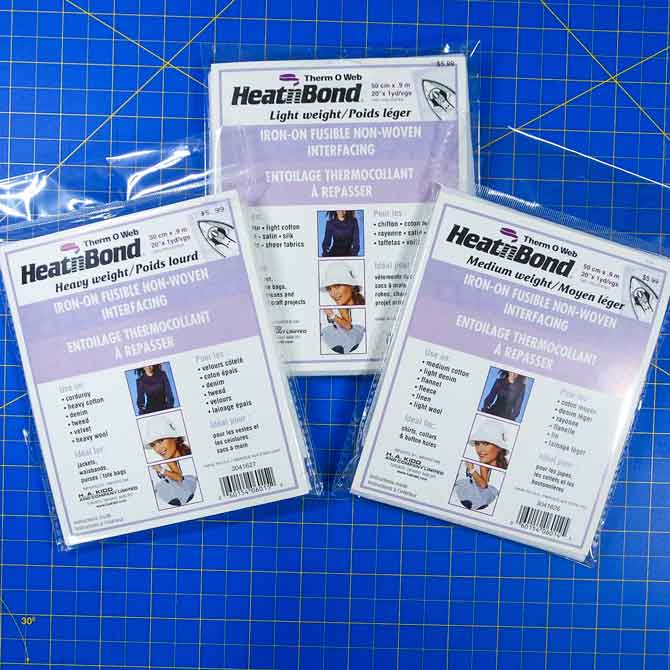 Fusible non-woven interfacing in three different weights