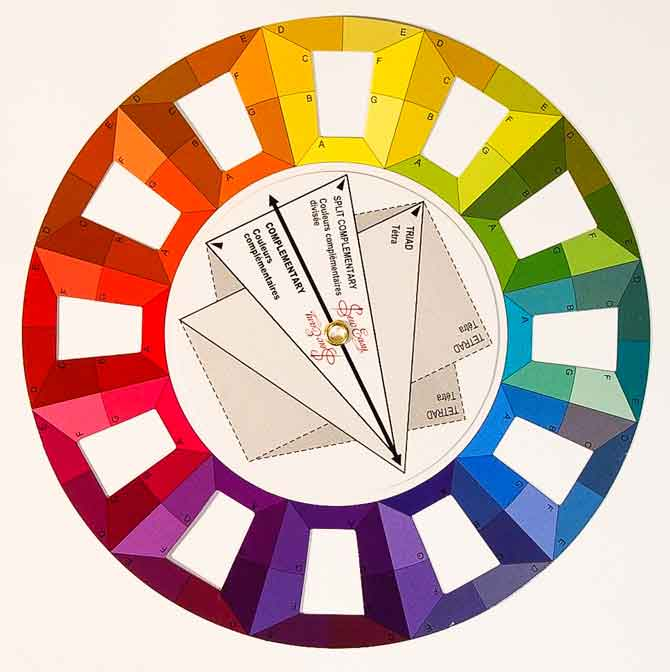 Color wheel with open areas for viewing fabrics