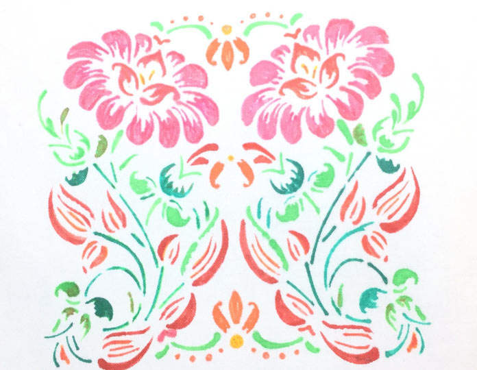 This colored stencil design would be beautiful used in a quilt.
