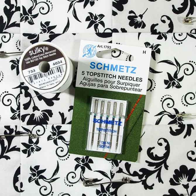 Sulky thread and Schmetz topstitch needles