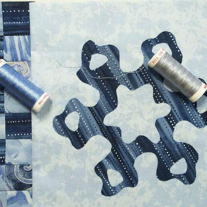 Blue & grey Sulky rayon threads