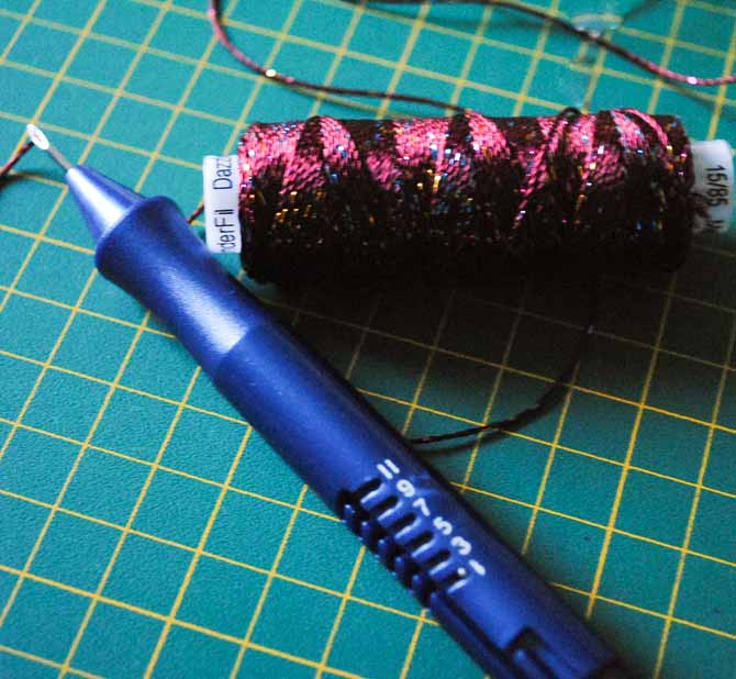 The Cameo punchneedle is threaded with Dazzle thread from WonderFil Specialty threads.