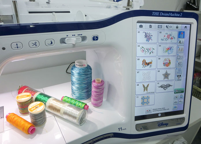 A variety of threads that can be used for embroidery