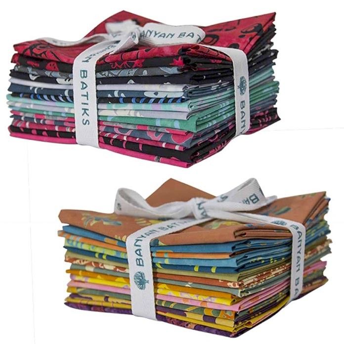 "Fat quarter bundles of the Banyan Batiks ""Tie One On"" collection"