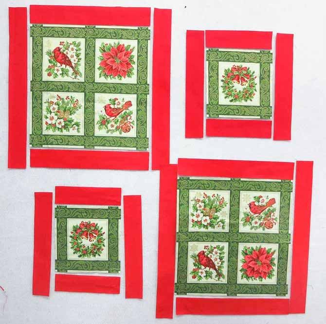 Red borders ready to be sewn on