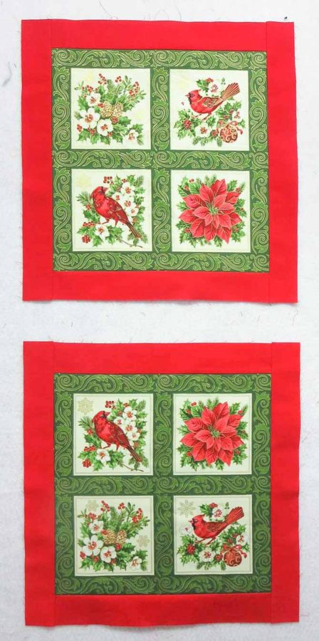 Red borders sewn on the large square