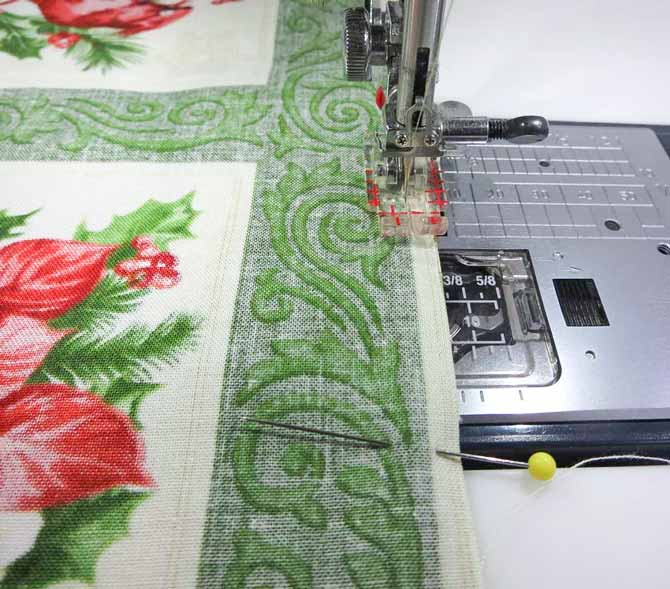 Sew on the green design line