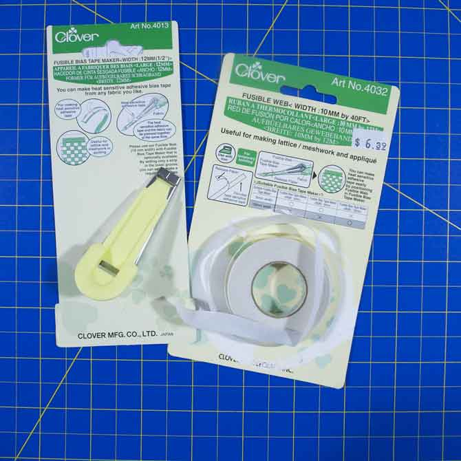 "Clover Fusible Bias Tape Maker ¼"" with Fusible Web 80'"
