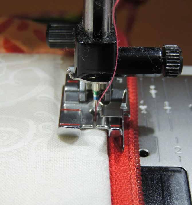 Adding topstitching beside zipper