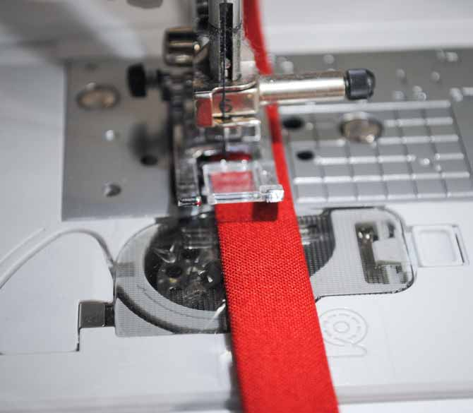 The trim on the vinyl is top stitched with the NQ900 sewing machine.