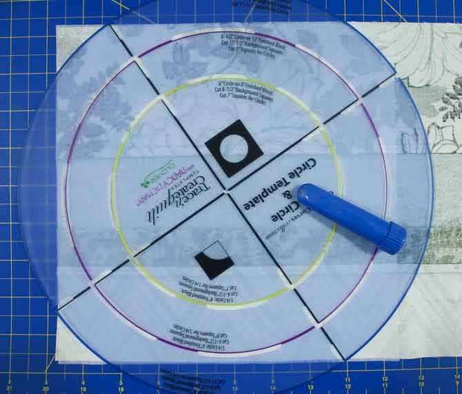 Circle template ready for marking with blue chaco liner