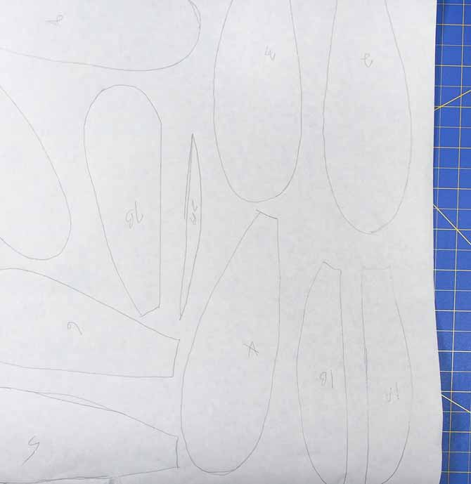 Template pieces drawn on Soft Stretch