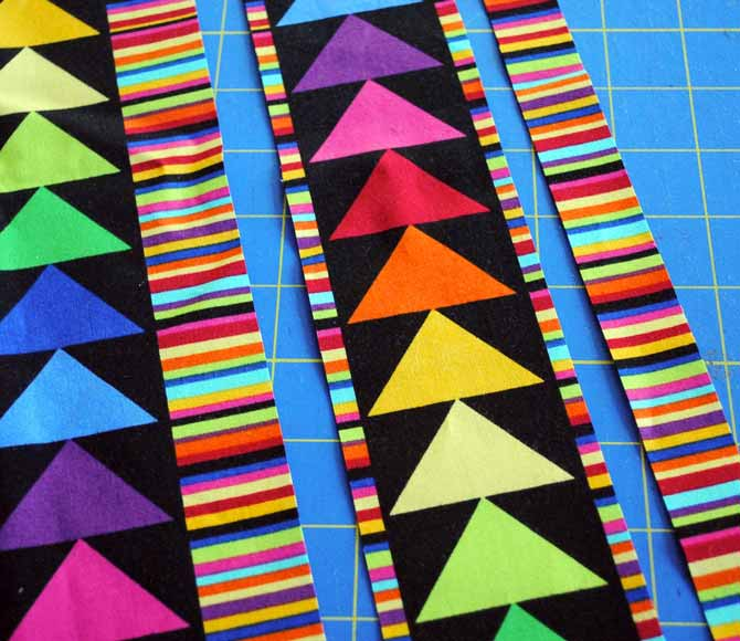 "Set aside the 1"" striped strips for a future sewing project"