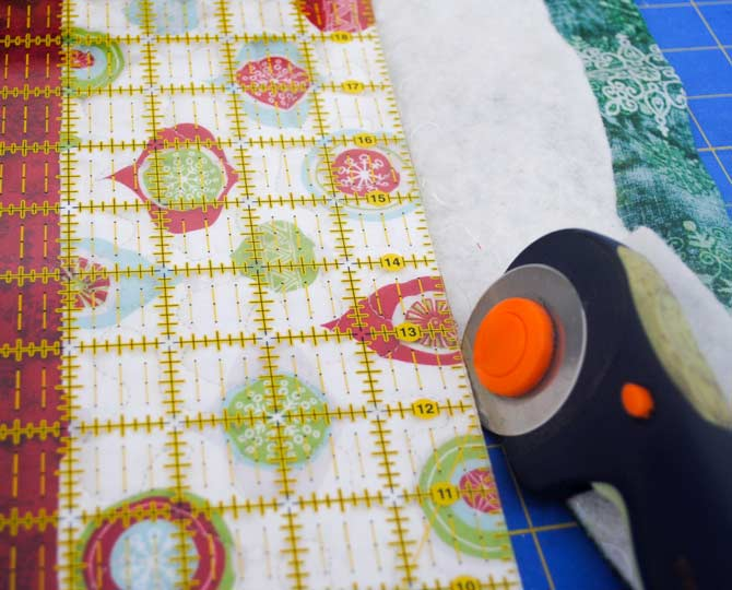 Trimming the quilt edges