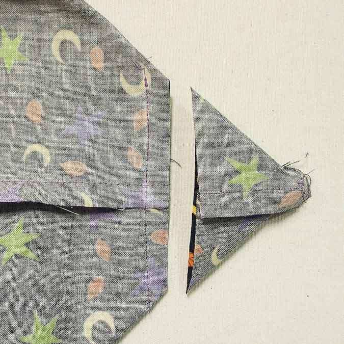 Trim seam ⅜″ from stitch line