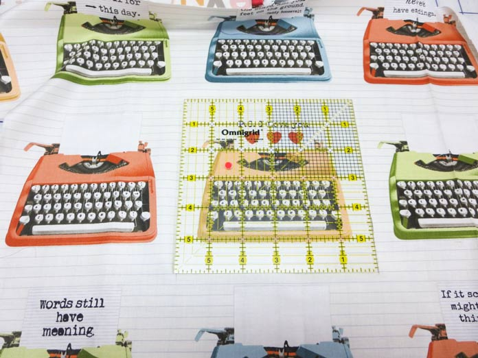 "Cut a 6"" square from the typewriter fabric"