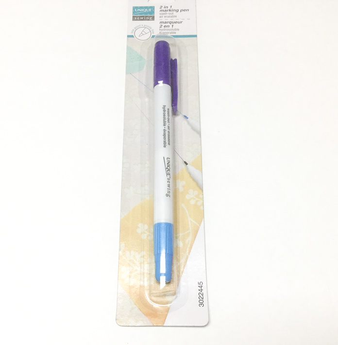 The UNIQUE 2 in 1 marking pen contains both a wash away and air erasable marking tool in one pen; a tutorial on thread painting