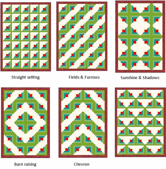 This photo shows six different arrangements that could be used when sewing a log cabin quilt together - as you can see, the rotation of the blocks makes a big difference to the final design.