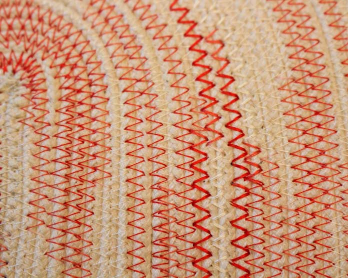 Simple zigzag stitches highlight a variegated thread. WonderFil's Variegated Thread Packs