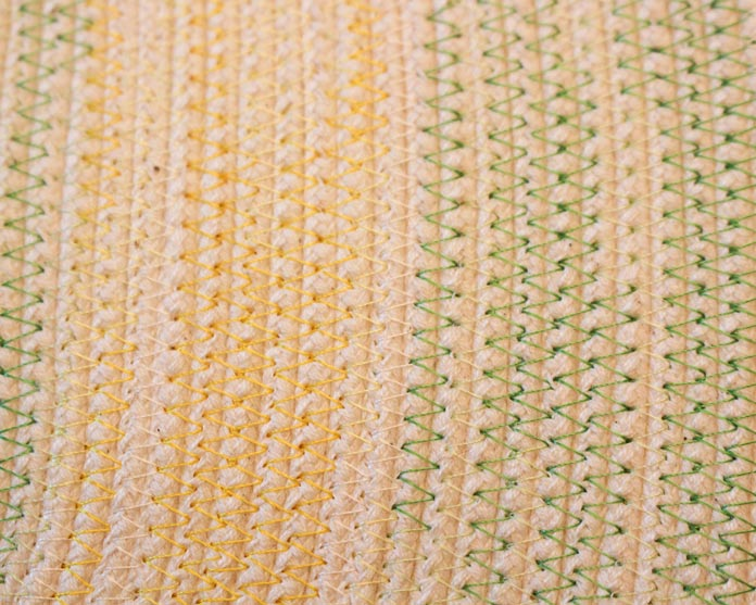 Alternating yellow and green variegated thread