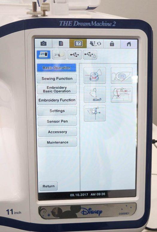 LCD screen showing the help menu