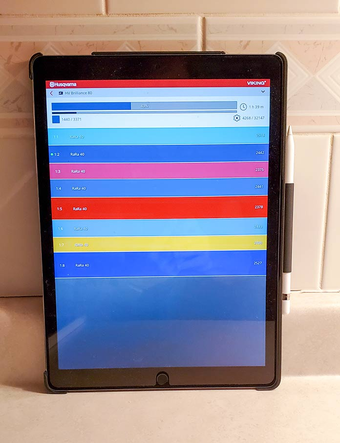 The Husqvarna Viking mySewMonitor on a tablet