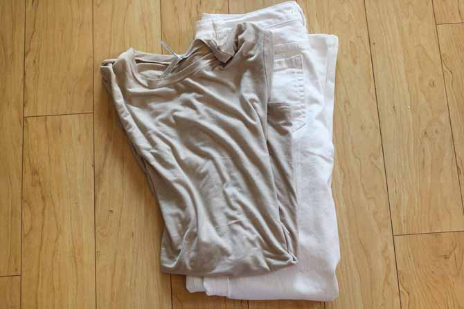 White jeans and beige t-Shirt prior to dyeing with Dylon Multi-Purpose Dyes.