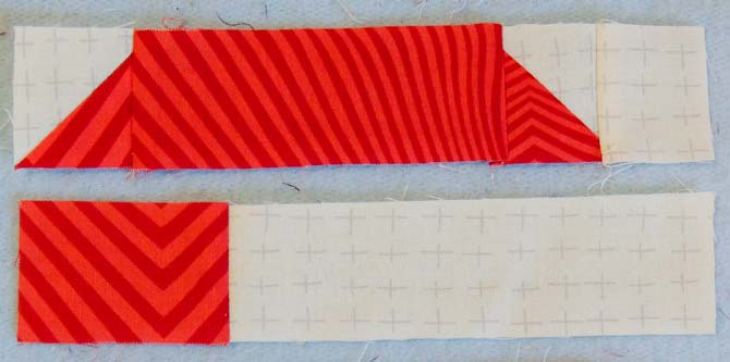 Sew white and red units together