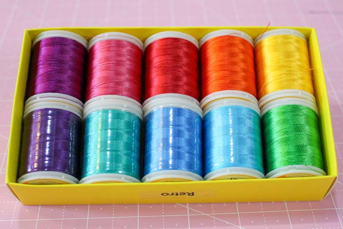 The Retro pack of Splendor rayon threads from WonderFil.