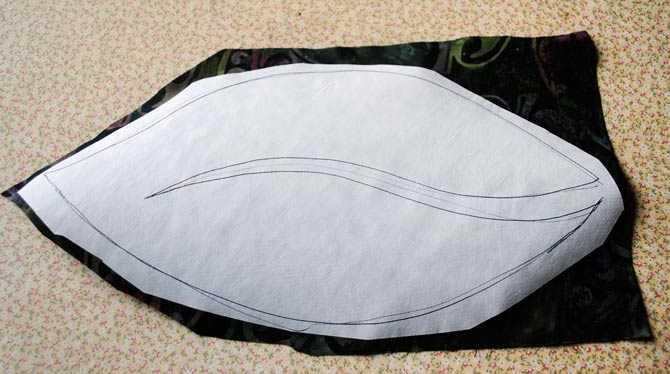 Wonder under shape ironed to back of leaf fabric
