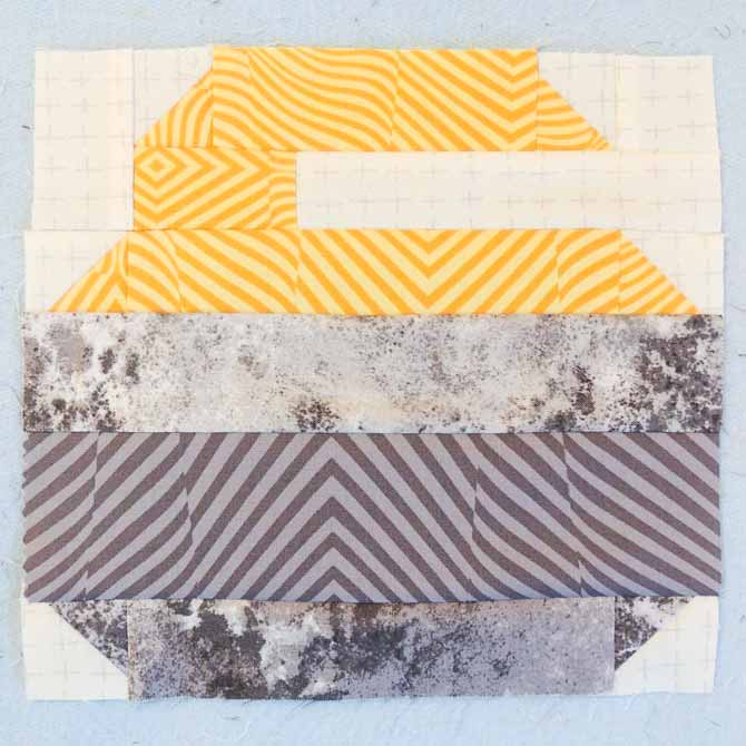 Yellow Curling Stone Quilt Block