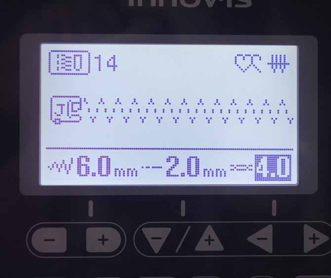 The settings for the 3 steps elastic zigzag stitch on the NQ900 sewing machine.