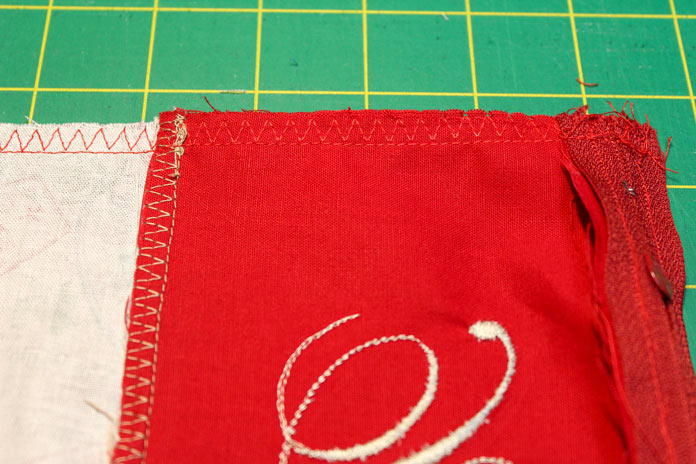 Adding a zigzag stitch to secure the seams